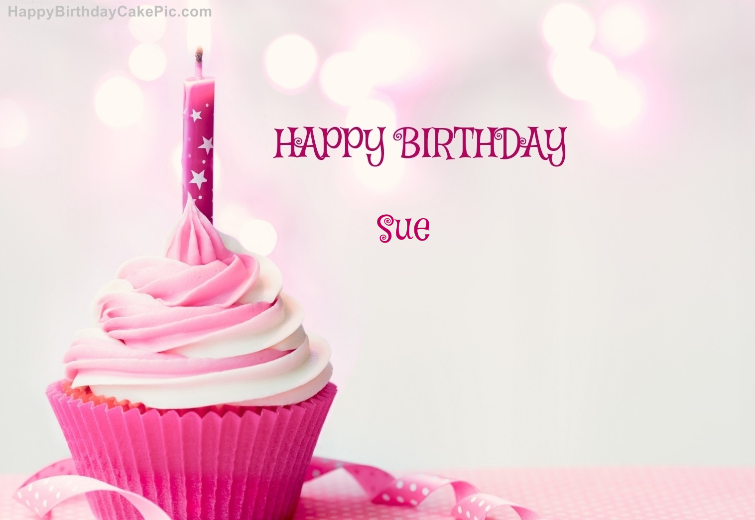 Happy Birthday Cupcake Candle Pink Cake For Sue