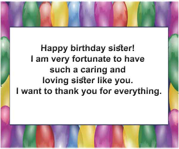 Birthday Message to My Sister