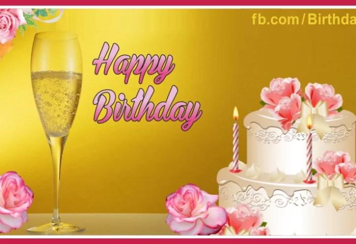 Pinky White Cake Champagne Happy Birthday Card Happy Birthday