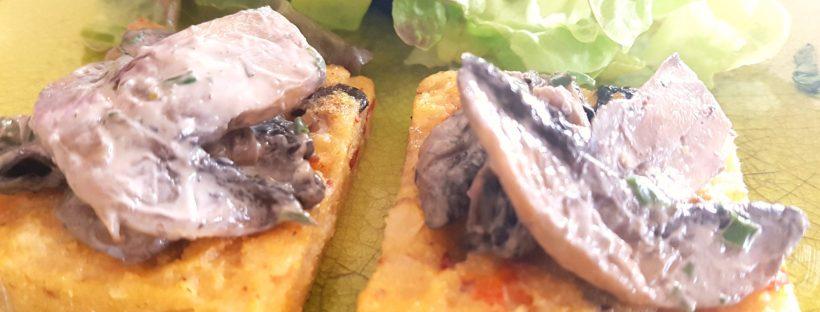 polenta toast champignons provençal
