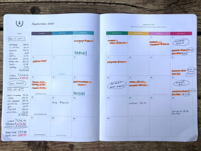 Simple Ways to Track Expenses: Calendar Version. Full view of a calendar for financial recordkeeping. Calendar includes dates and amounts of of monthly bills, highlighted paid bills, and totals for the month.