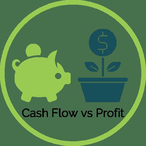 Piggy bank vs money growing in a flower pot - Cash Flow vs. Profit