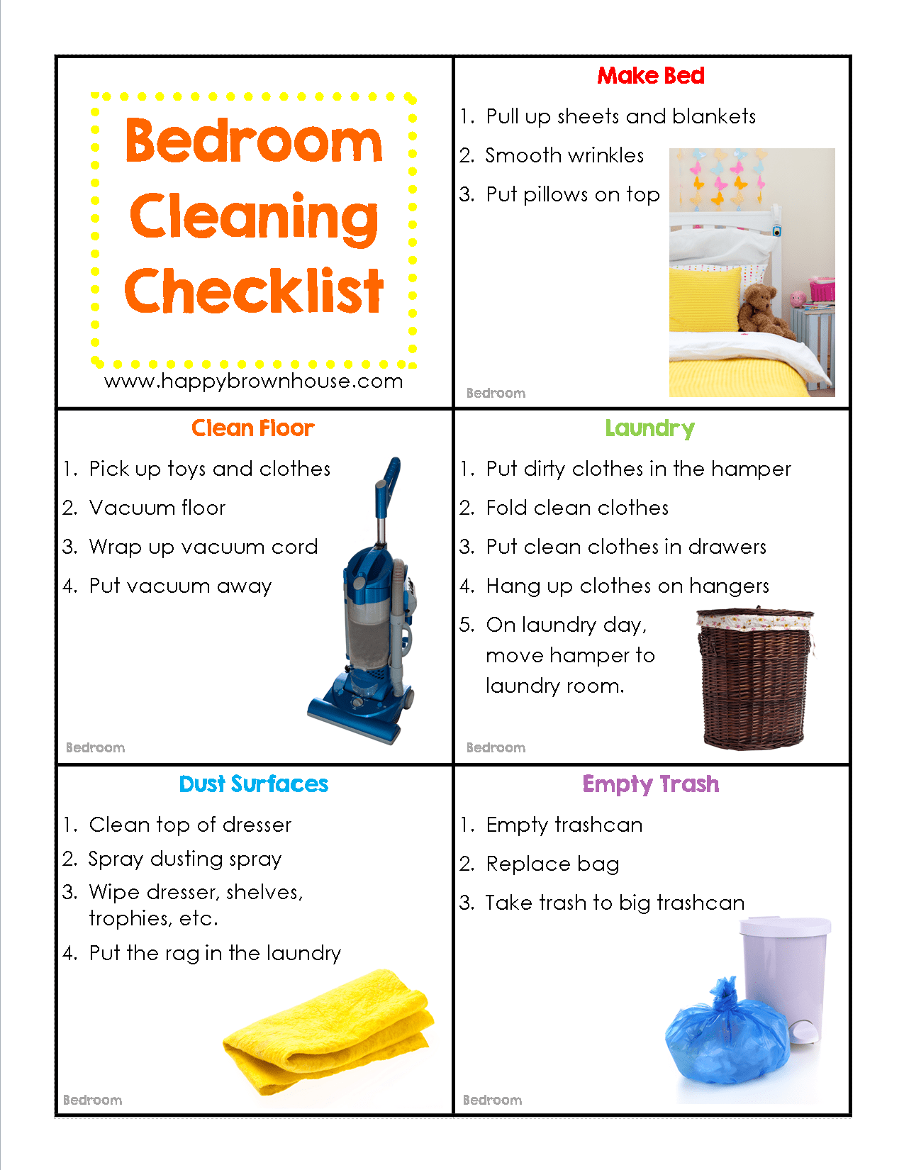 Editable Cleaning Chore Cards For Kids
