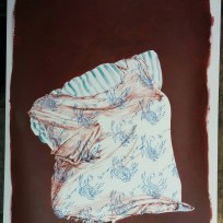 """Still Life with Shirt, colored ink and acrylic on white paper, 18x24,"""" 2015"""