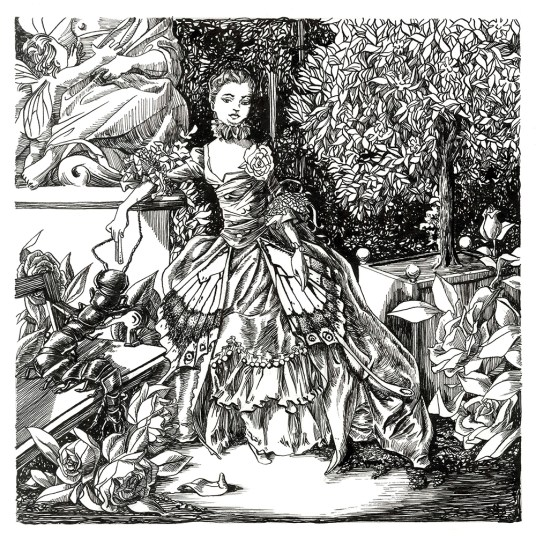 Madame de Pompadour, after François Boucher. Illustration from An Illustrated History of Domestic Arthropods. Ink on paper. 2017