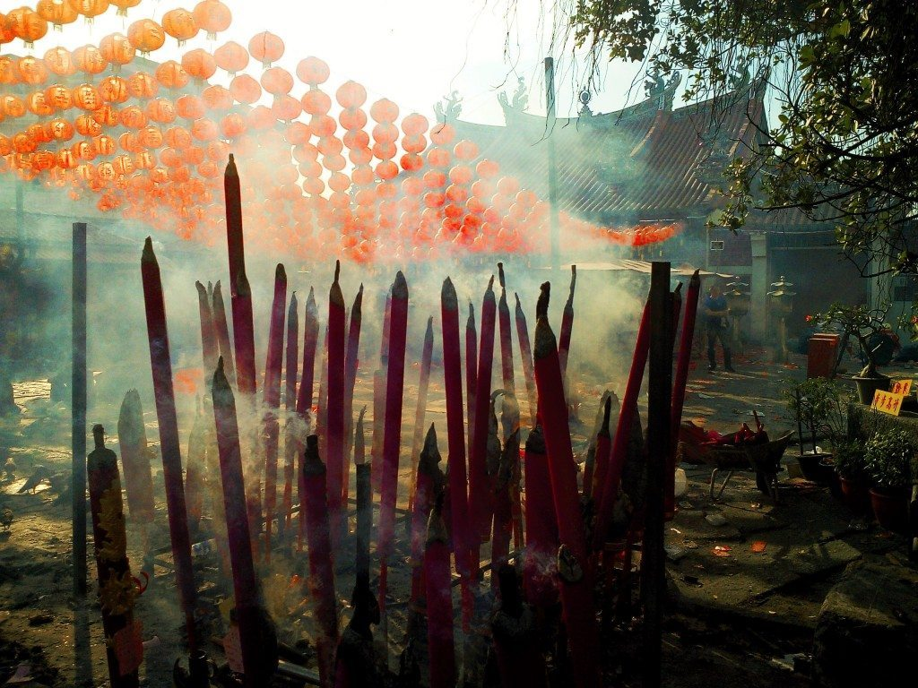 Incense burning outside one of the Chinese temples in Penang