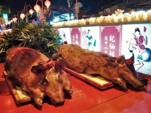 Roasted pig offerings to the Jade Emperor