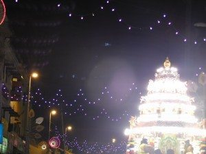 The brightly lit chariot making its way through the streets of KL towards the Batu Caves on the first night of Thaipusam