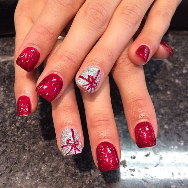 Pink Bow Acrylic Christmas Nails Red And White With