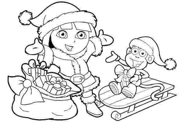 Dora Christmas Coloring Pages 12 Printable Coloring Sheets