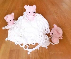 trois petits cochons au crochet-vivyane veka