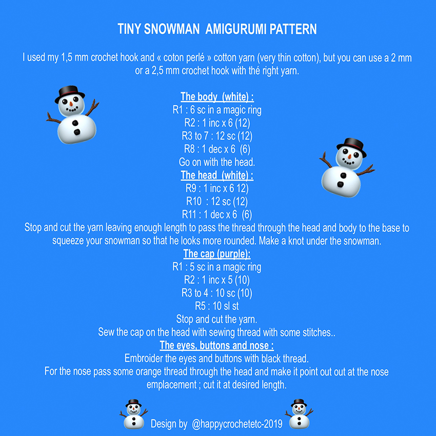 Tiny Crochet Snowman Tutorial