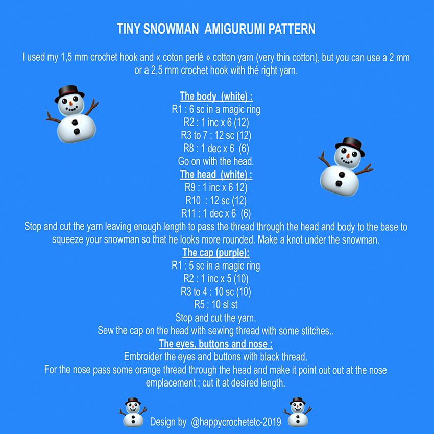 Tiny Crochet Snowman Tutorial