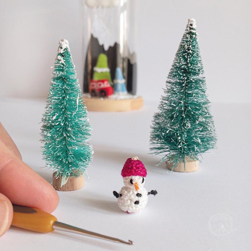 Bonhomme de Neige Amigurumi Miniature