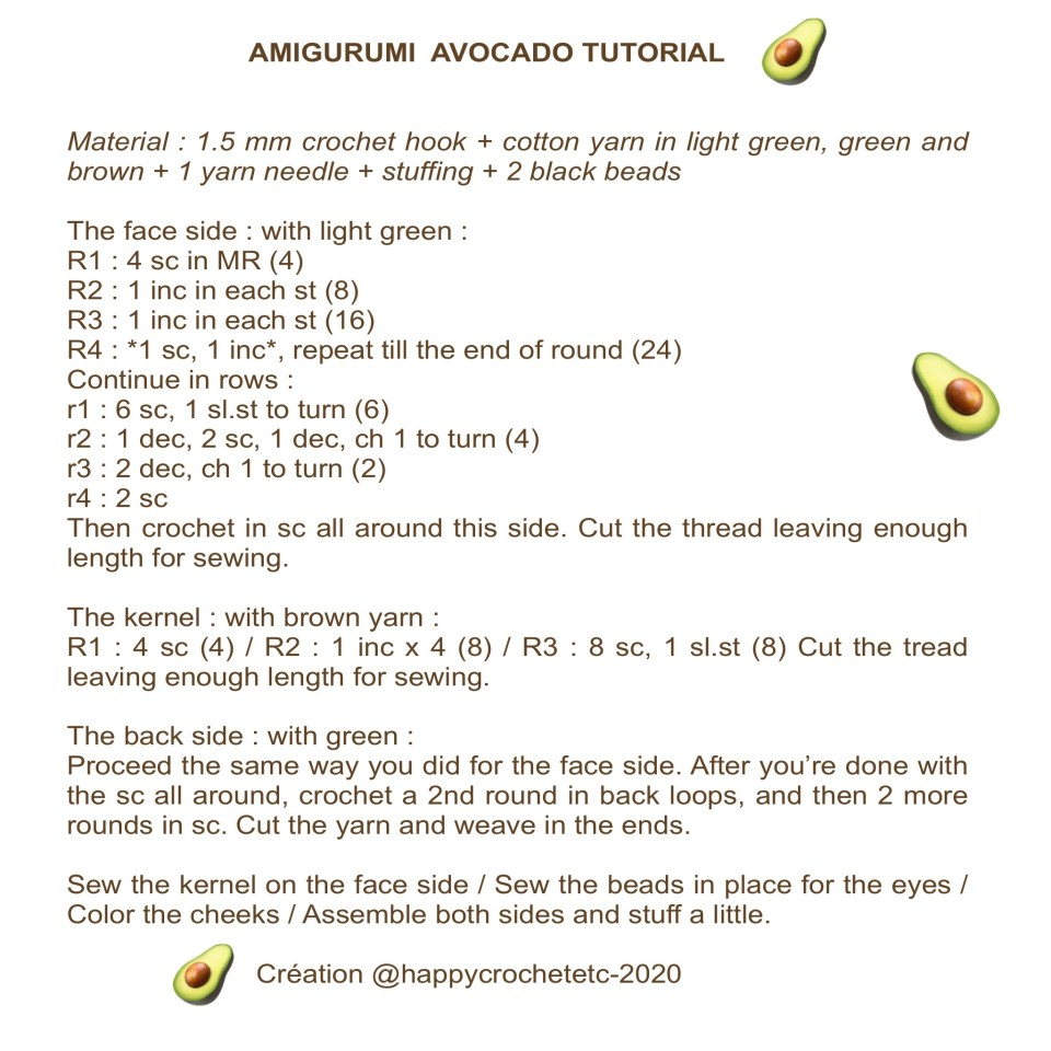 Amigurumi Avocado Tutorial
