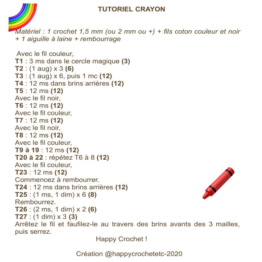 Tutoriel Crayon Crayola au Crochet