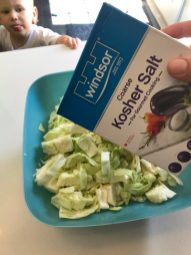 Chop up cabbage and throw it in a bowl add 1 tbsp of kosher salt