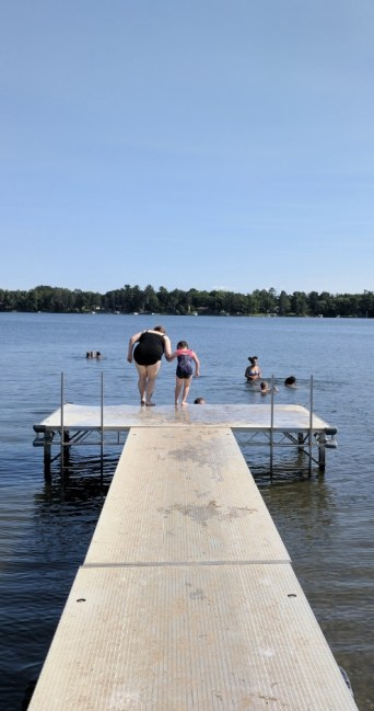 Jumping off the dock isn't recommended as the water stays shallow for a bit.