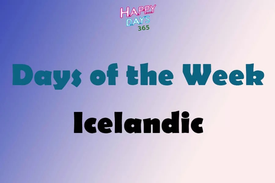Days of the Week in Icelandic