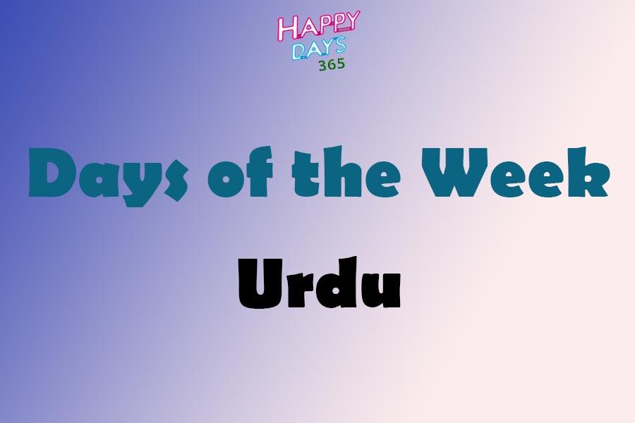 Days of the Week in Urdu