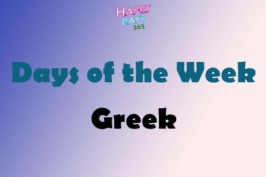 Days of the Week in Greek