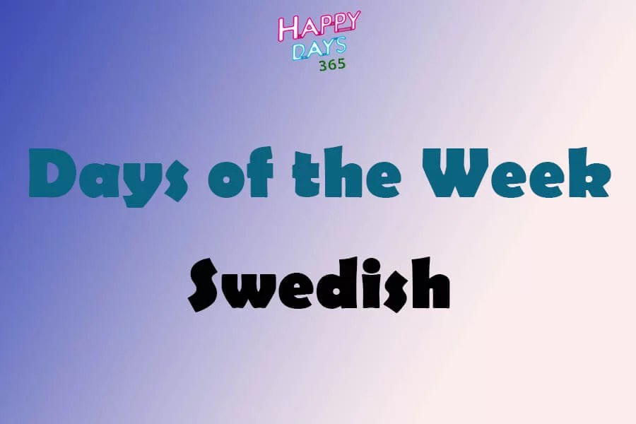 Days of the Week in Swedish Language