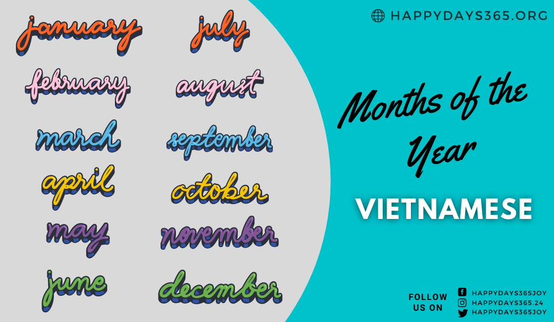 Months of the Year in Vietnamese