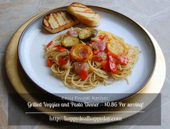 Easy Frugal Recipes:  Marinated Grilled Veggies and Pasta Dinner – Feed 8 for just $0.86 Per serving!