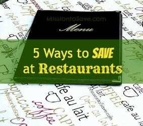 30 Day Budget Bootcamp:  5 Ways to Save at Restaurants!