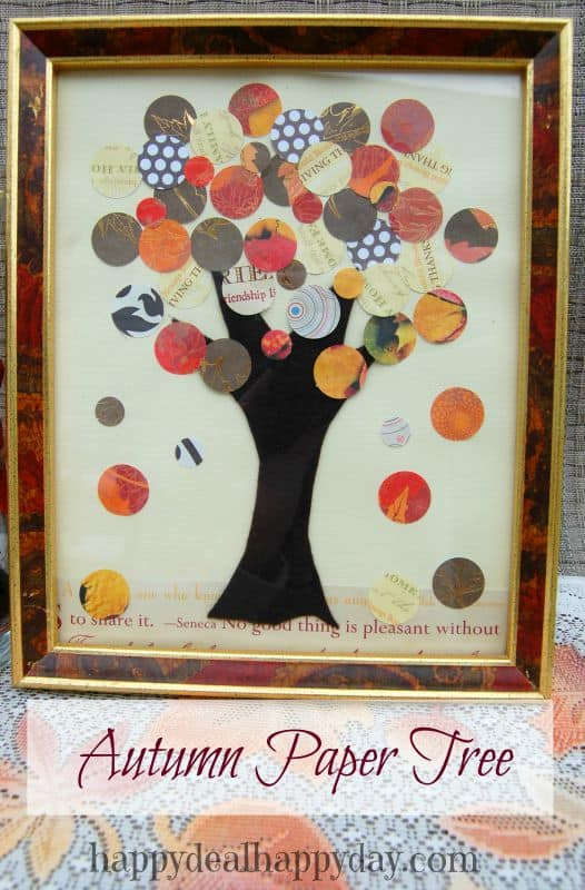 Easy Scrapbook Paper Autumn Tree & Vase #falldecor #frugaldecor #fall #autumn #pinecones