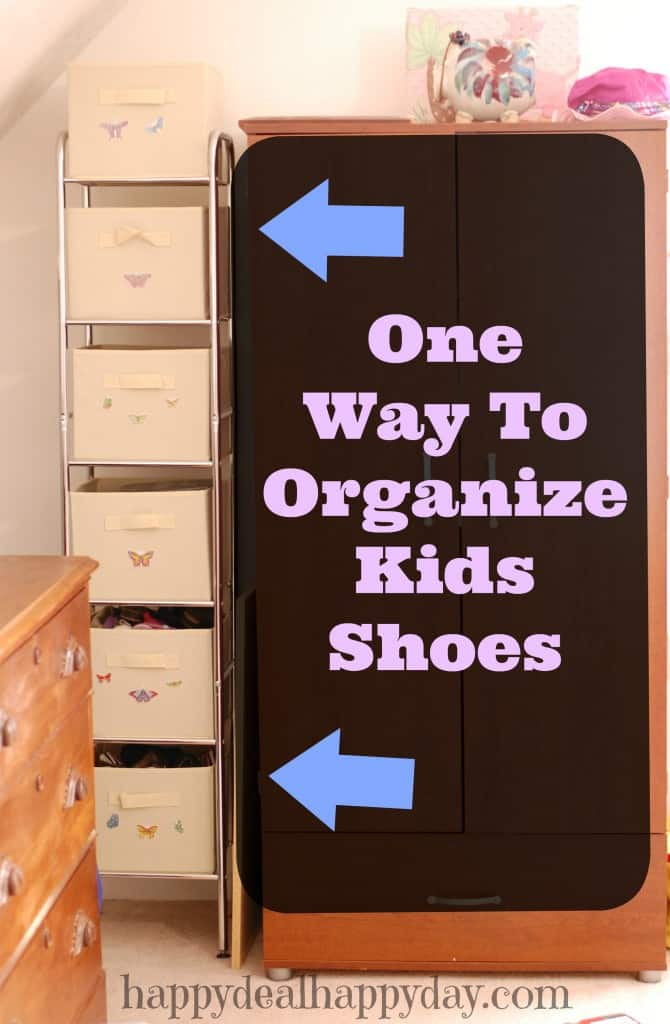 One Way To Organize Kids Shoes!!! My kids shoes are ALL OVER and I totally needed a way to organize them! This tip totally helps!!