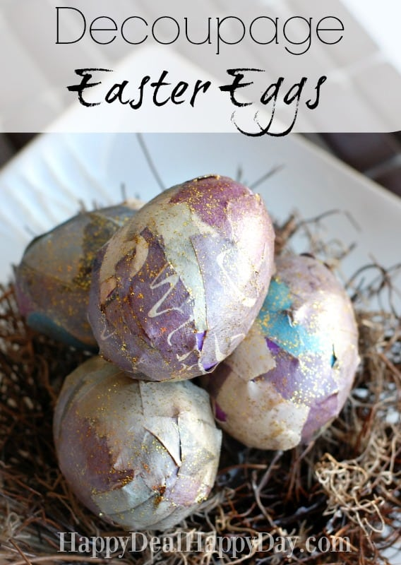 Easter Egg Decorating Idea | Decoupage Easter Eggs! Love this idea to use plastic eggs over and over each year!