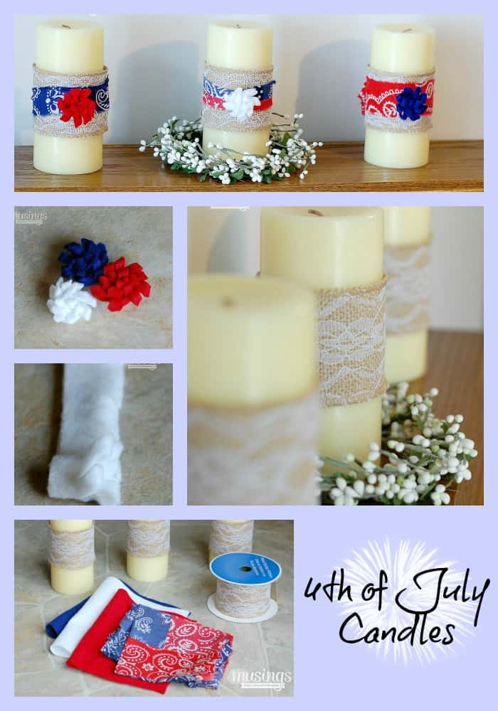 DIY 4th july candles collage