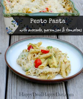 Easy Vegetarian Pesto Pasta Recipe With Avocado, Parmesan, Romano & Tomatoes!