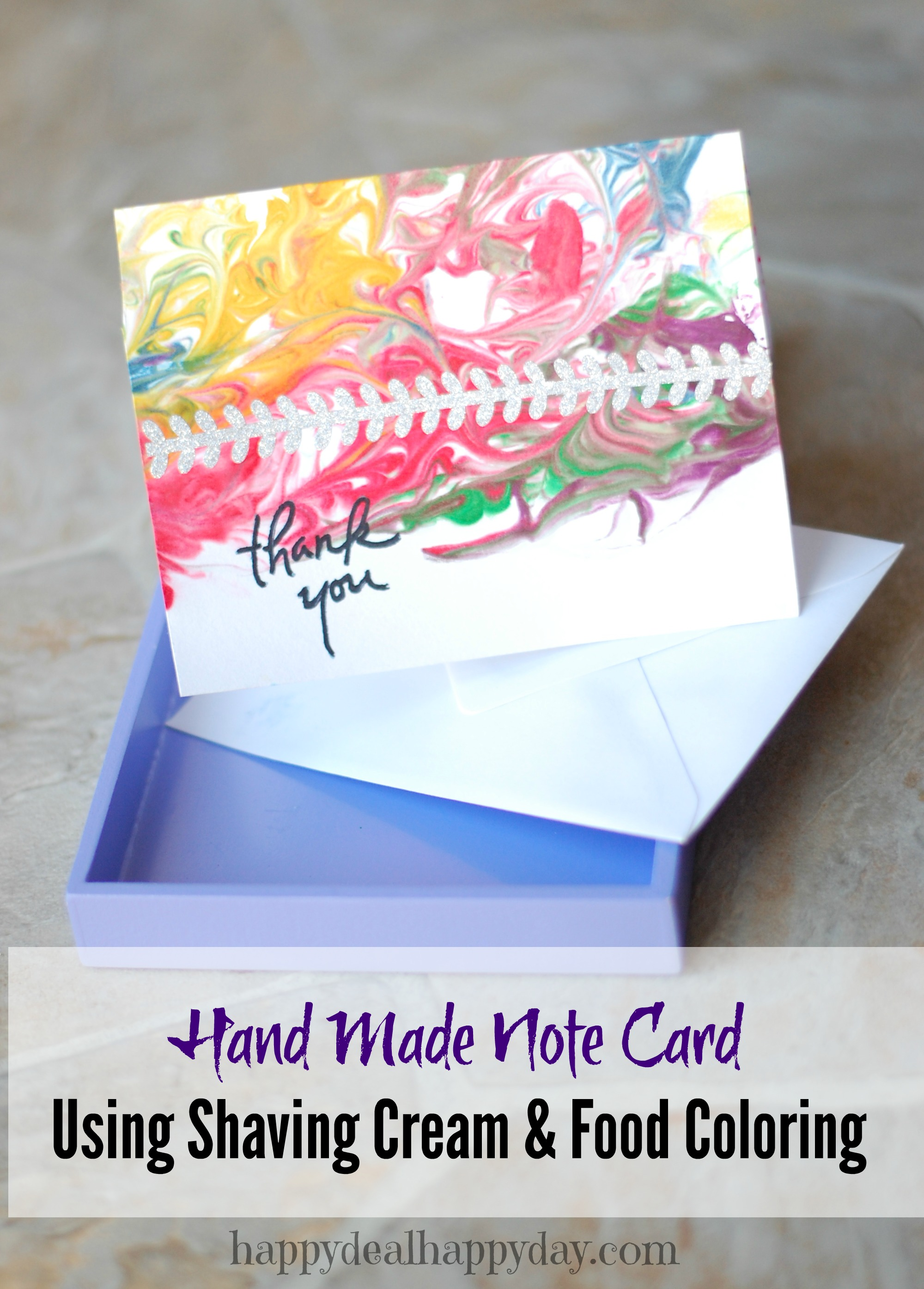 note card shaving cream and food coloring