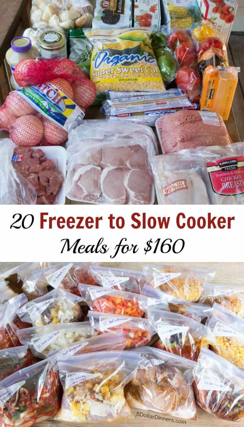 20 Freezer To Slow Cooker for $160 Meal Plan! (Good for ANY Store) SUPER POPULAR MEAL PLAN!!! This costs as low as $2.49 - what a deal to stay calm when planning for meals for a month!!! It comes with shopping lists, recipes, and even how-to video if you want! happydealhappyday.com