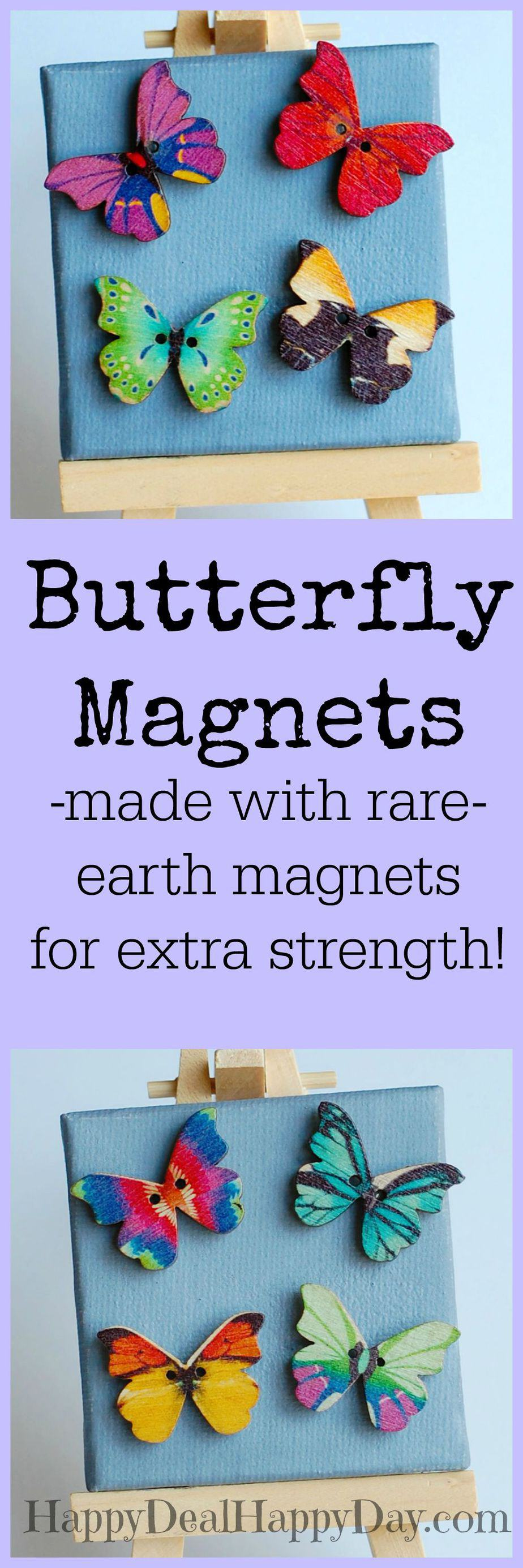 Super Cute butterfly magnets - I totally have to get a set for my fridge! My daughter would love these in her locker!