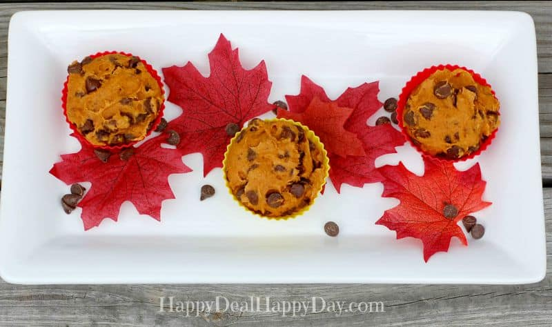 gluten free chocolate chip pumpkin muffun top view