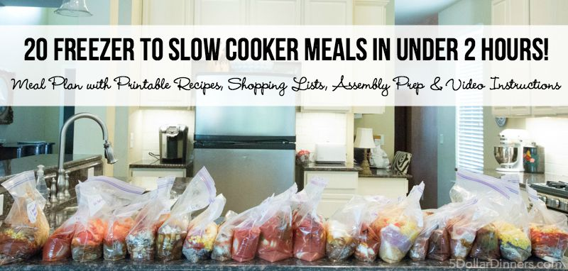 20 Freezer To Slow Cooker Meal Plan for $160!  (Good for ANY Store)