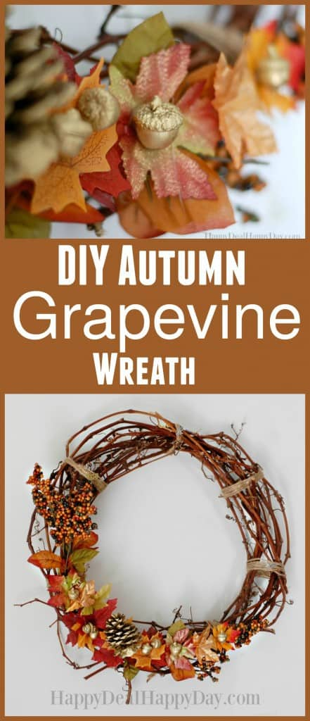DIY autumn grapevine wreath - this is an easy fall DIY! Cost me less than $5 to make!