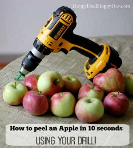The Fastest Apple Peeler That Peels in 10 Seconds:  Your Drill!