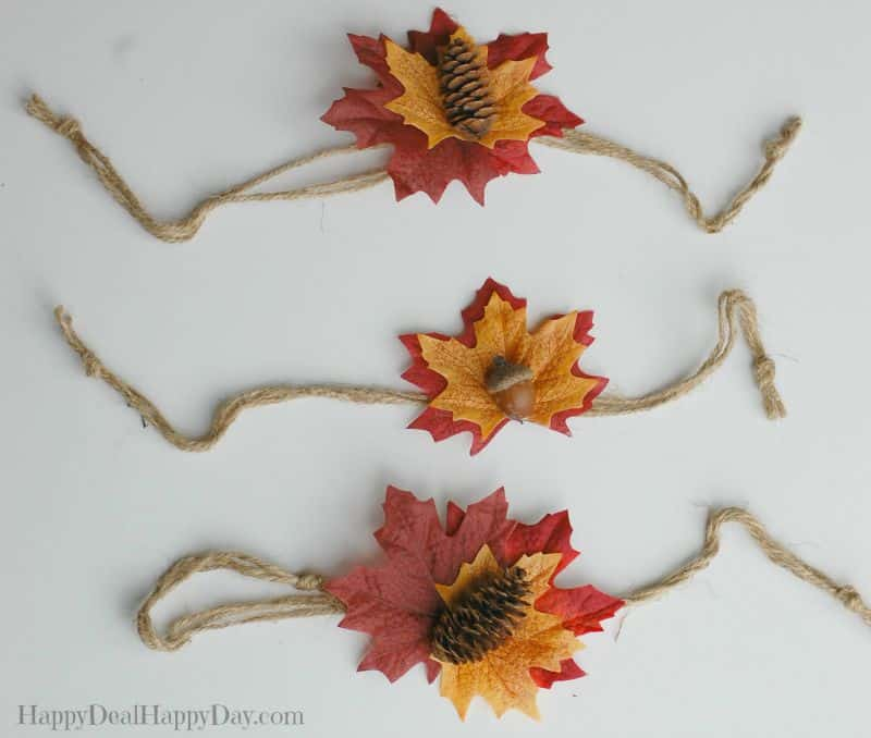 Easy Fall Decorations: Candle with Burlap and Leaves