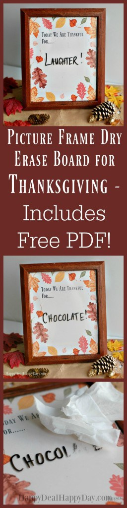 Picture Frame Dry Erase Board for Thanksgiving - Includes Free PDF!