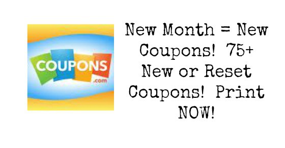 New Month = New Coupons!  Huge Number of New or Reset Coupons!  Print NOW!