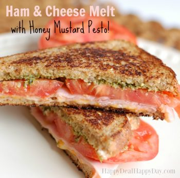 Grilled Cheese Recipe with Ham, Basil Pesto, and Honey Mustard!