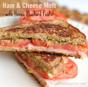 Ham and Cheese Melt with Honey Mustard Pesto Sauce!