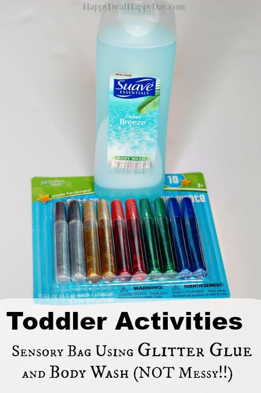 Toddler Activities: Sensory Bag Using Glitter Glue and Body Wash (NOT Messy!!)