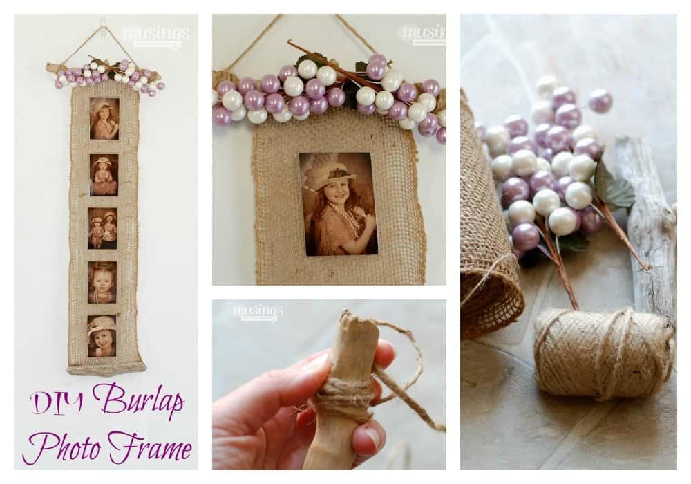 DIY burlap photo frame collage 2