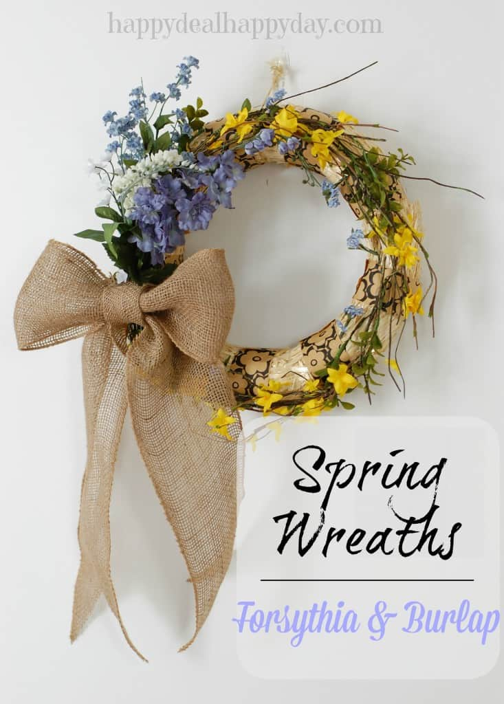 spring wreaths burlap and forsythia