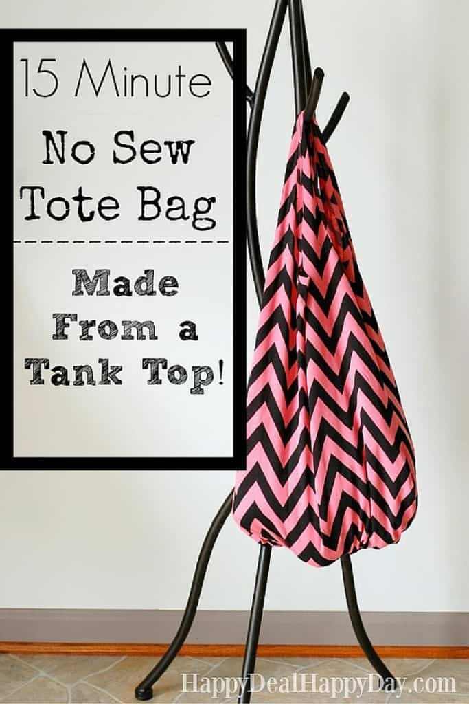 DIY No Sew Tote Bag Idea - made from a tank top!